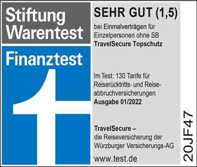 Testsieger Würzburger Reiserücktrittsversicherung für eine Reise