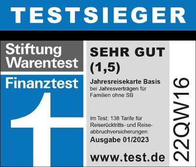 FINANZtest Gut (1,6) Würzburger Jahresreiseversicherung